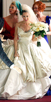 Carrie in a Vivienne Westwood wedding dress