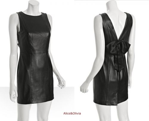 Alice+Olivia black leather dress