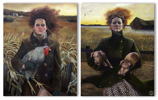 Andrea Kowch, Two Rural Sisters