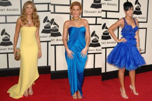 Bold colored dresses at Grammy Awards
