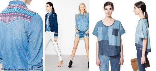 patterned denim shirts at Zara