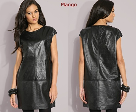 Mango black leather dress