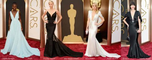 Oscar 2014 red carpet style: plunging V-neck gowns