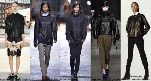 Leather sweatshirts trend in runway shows and collections lookbooks