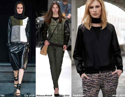 Leather sleeves and panels on sweatshirts, winter-holiday 2013-2014 trend