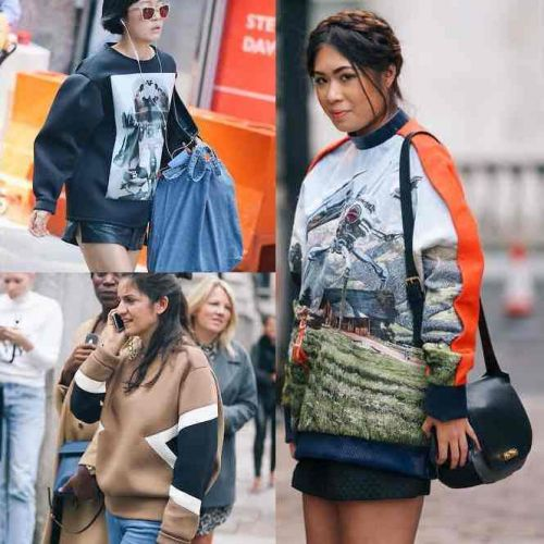 panels and prints on sweatshirts: fashion week streetstyle