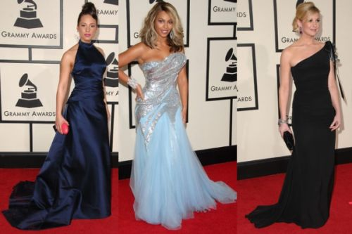 Long trail dresses at Grammy Awards