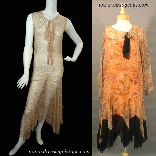 Vintage 1920s formal dress and day dress with handkerchief hem