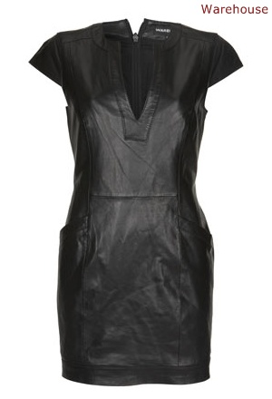 Warehouse black leather dress