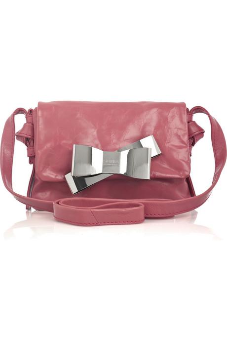 Bow Glazed-Leather Shoulder bag