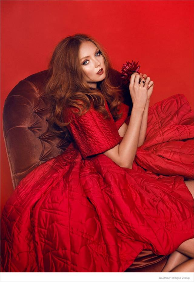 Lily Cole Models in Cover Story of Glamour Italia