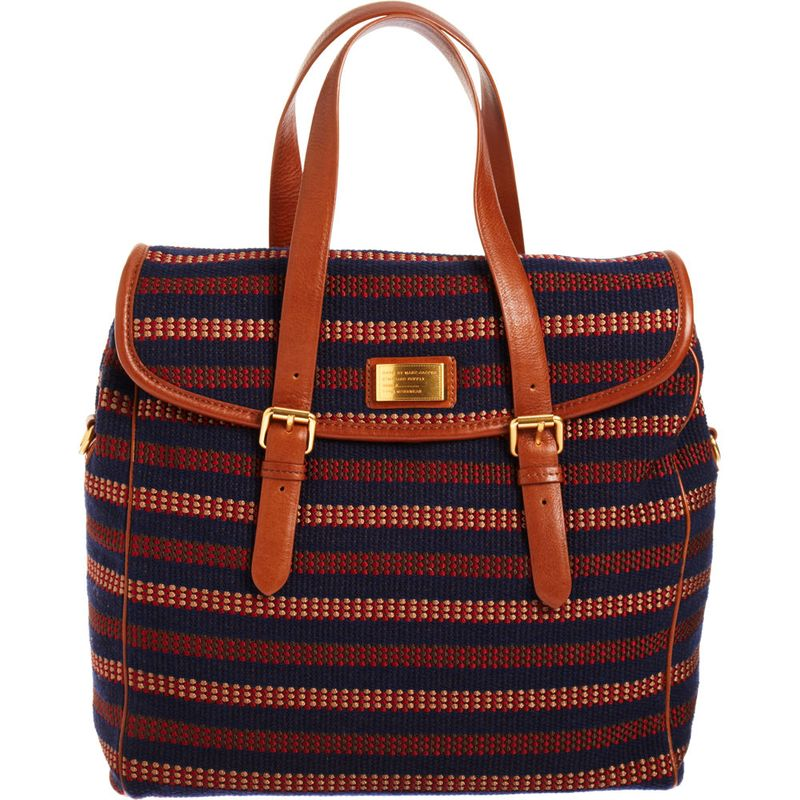 Striped canvas satchel