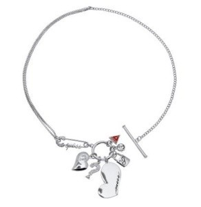 Guess Ladies Heart Safety Pin Charm Necklet