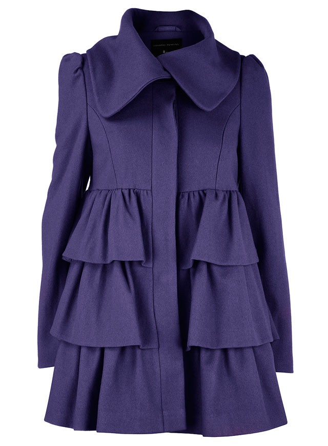 purple tiered coat at DP