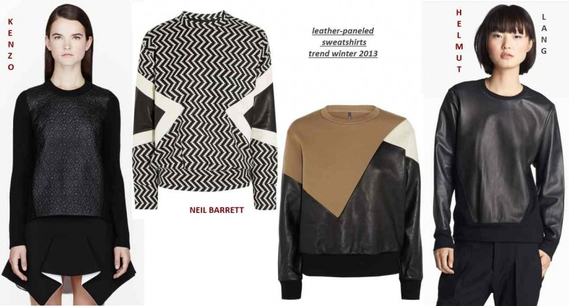 leather paneled sweatshirts in stores