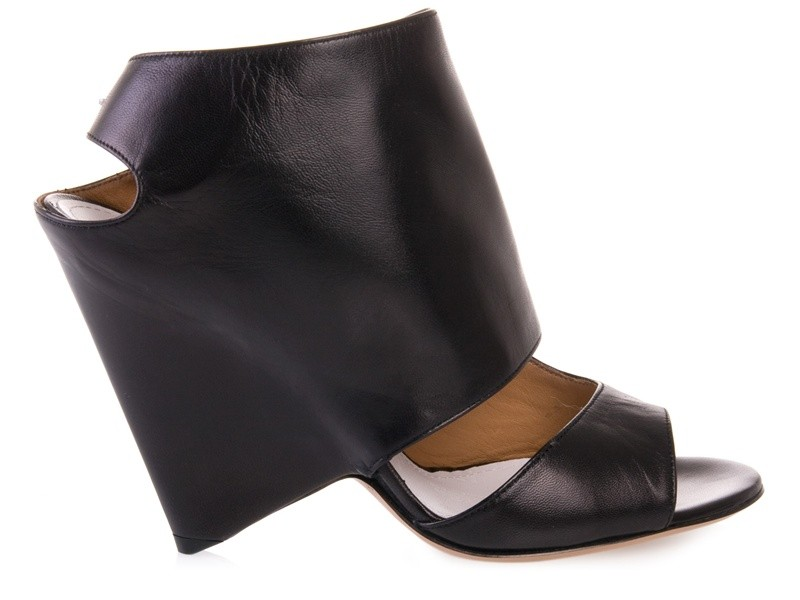 Black leather sandal boots