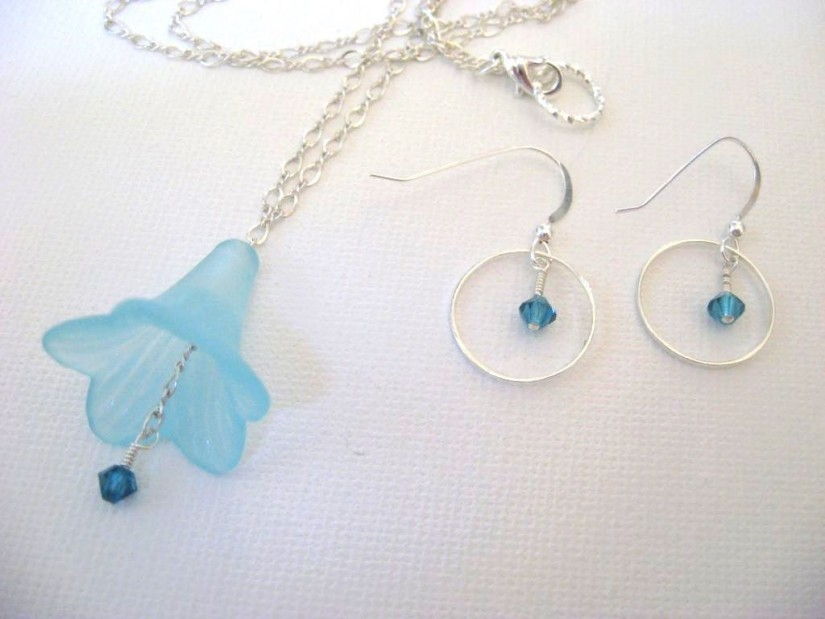 Bluebell Necklace and Earrings