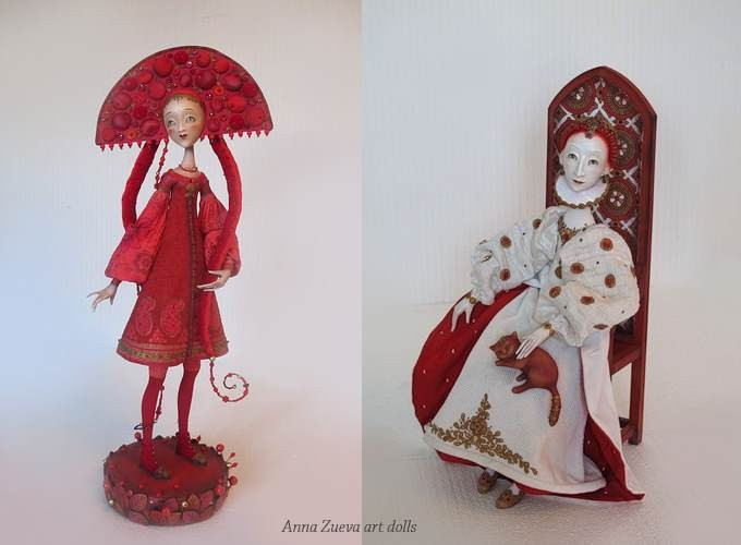 Anna Zueva art dolls, Cranberry Juice, The Cat and The Queen