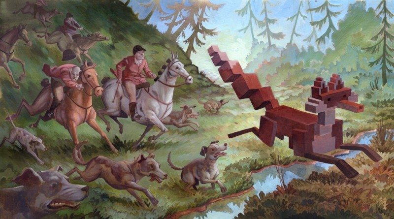 Laura Bifano painting, The Hunt, Menagerie series
