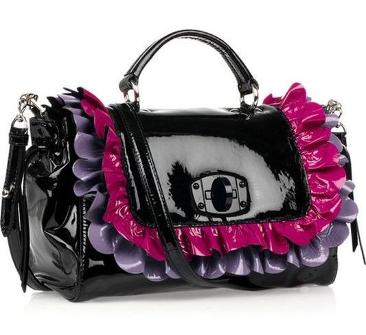 Patent-leather ruffle bag