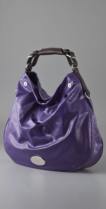 wrinkled patent-leather hobo bag