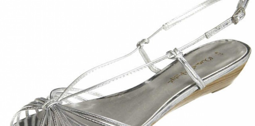 Silver Low Wedge Sandal