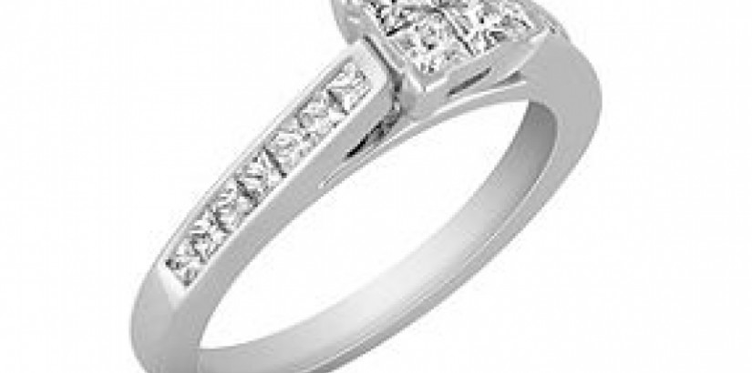 Cathedral Princess Cut shane engagement ring