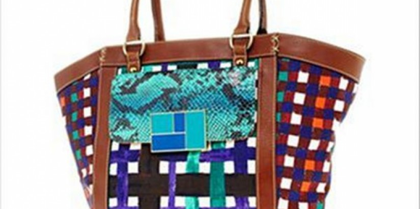 Duro Olowu for jcp Plaid Canvas Tote Faux-Snakeskin Pocket
