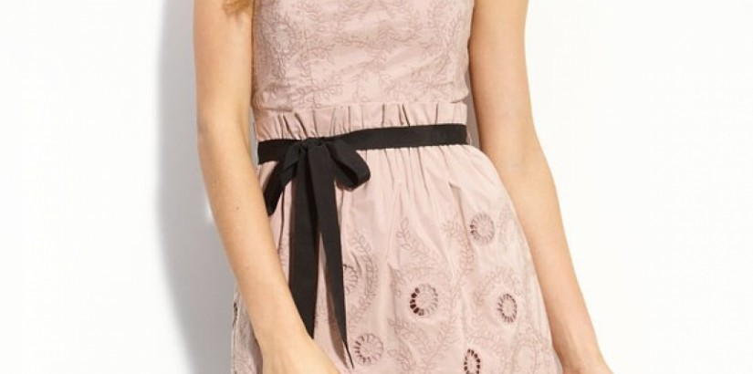 Mauverose Strapless Eyelet Taffeta Dress
